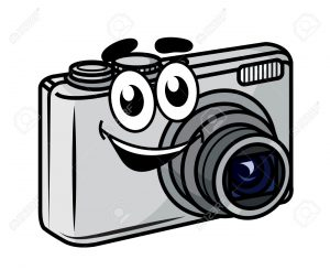 Cute little cartoon compact digital camera with a happy smile isolated on white